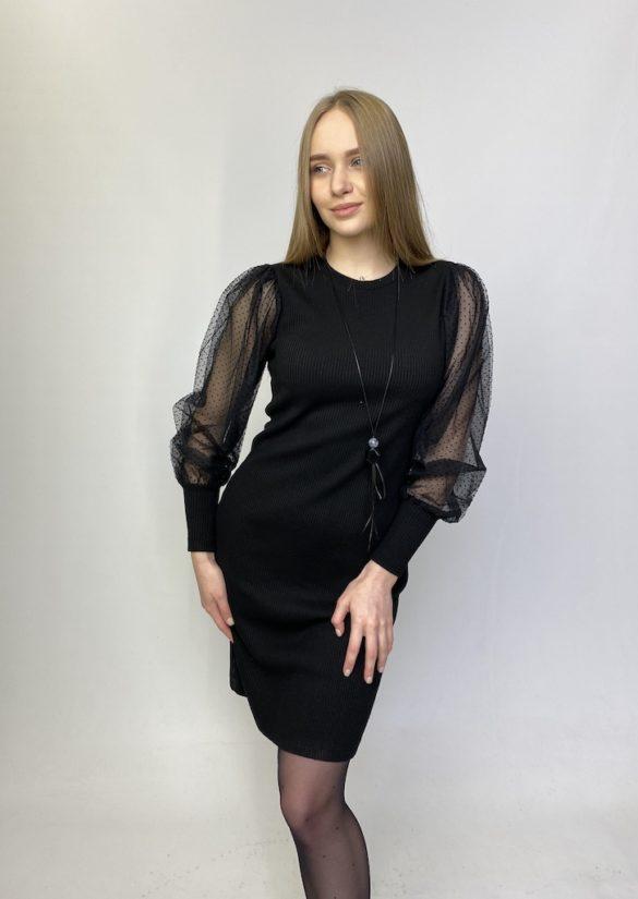Платье чёрное с полупрозрачными рукавами