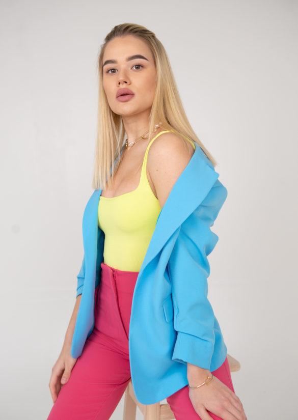 Пиджак голубой рукав сборка