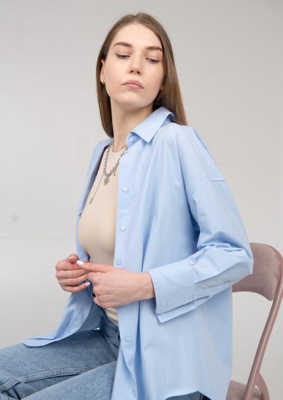 Рубашка оверсайз голубая